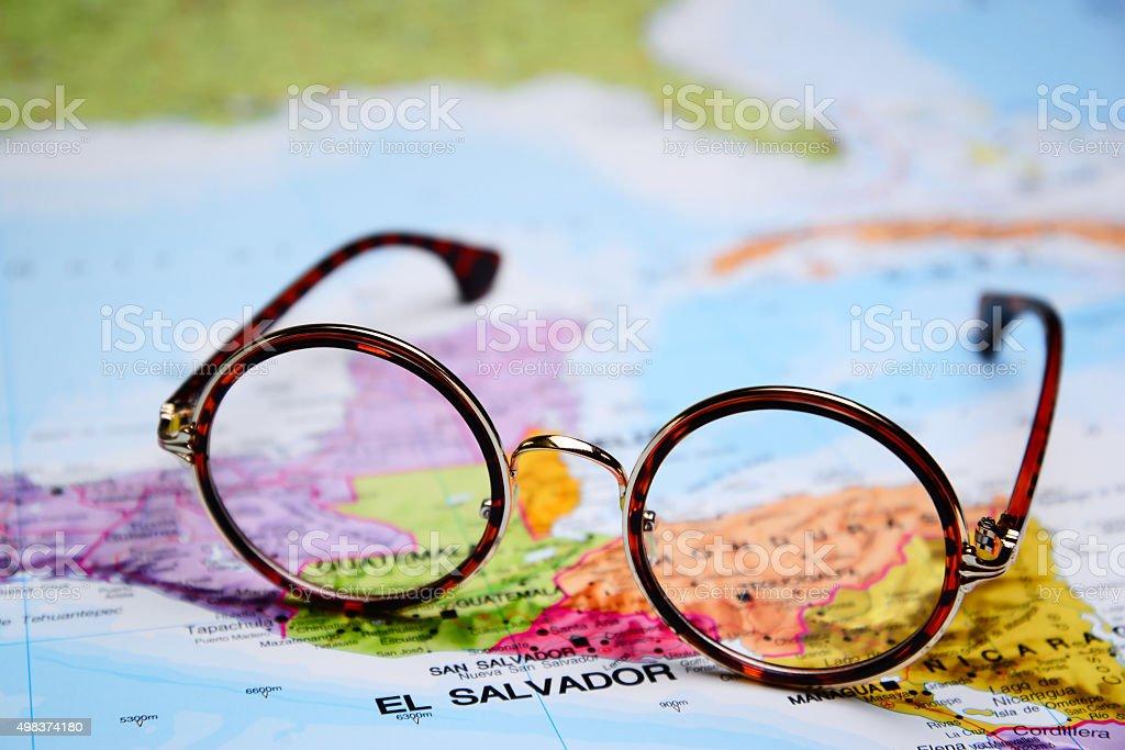 Glasses on a map - El Salvador stock photo