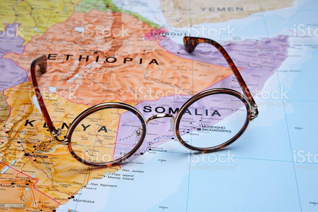Glasses on a map - Mogadishu stock photo
