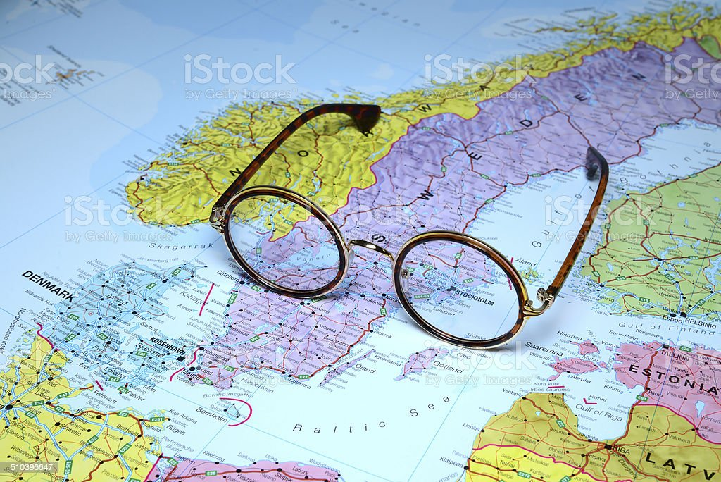 Glasses on a map of europe - Stockholm stock photo