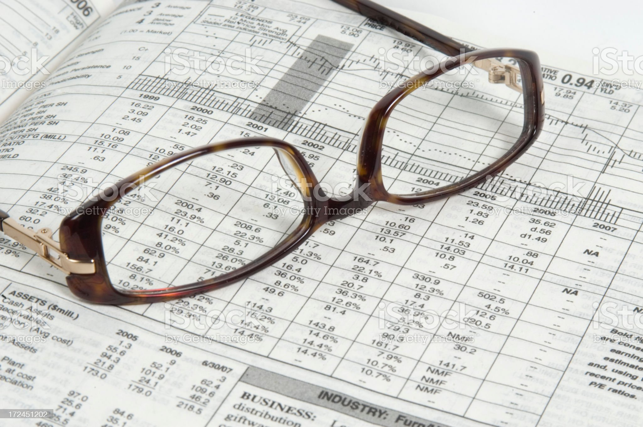 Glasses on a Stock Quote royalty-free stock photo