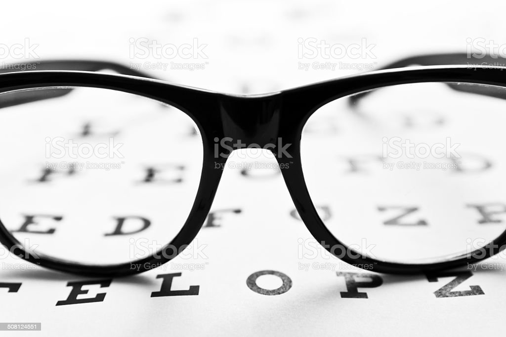 Glasses on an eye chart royalty-free stock photo