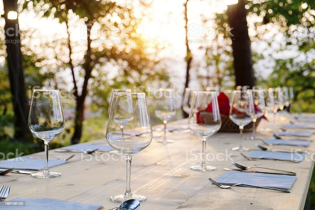 Glasses on dinner tablet stock photo