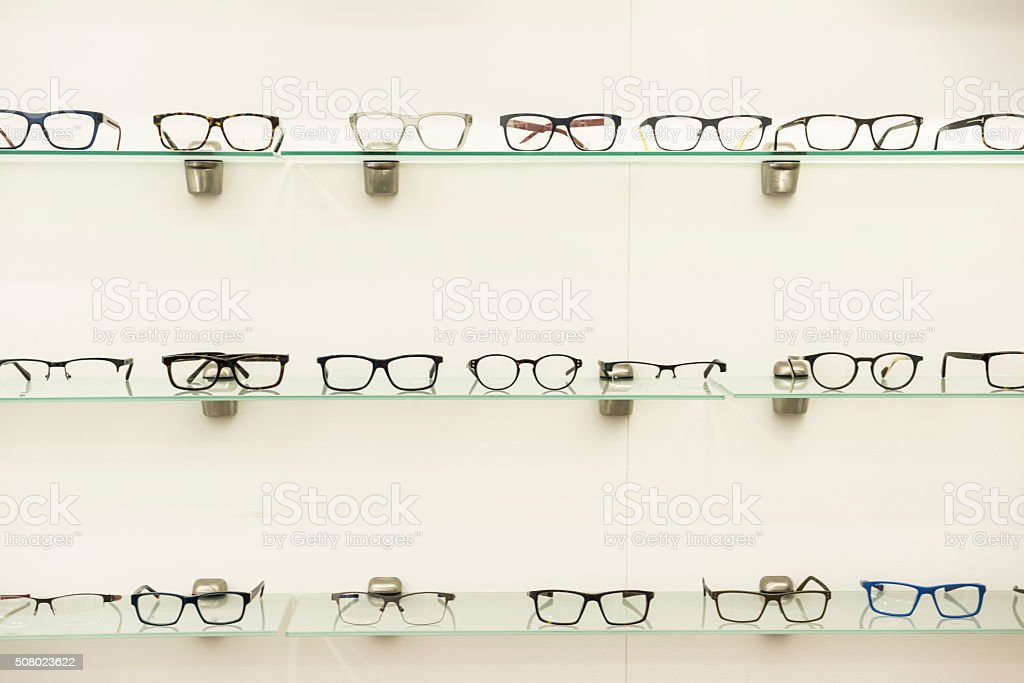 Glasses on display in Optics stock photo