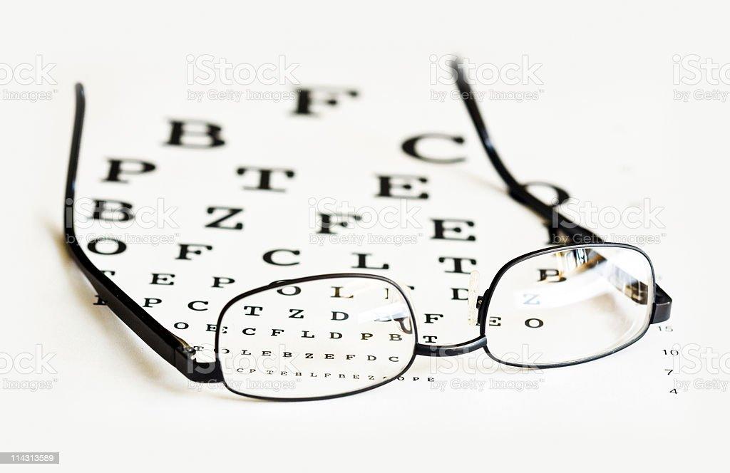 Glasses on eye chart royalty-free stock photo