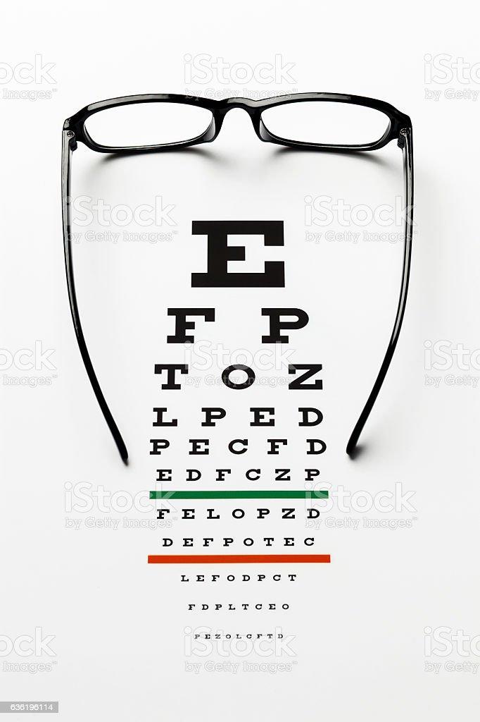 Glasses on eye chart stock photo