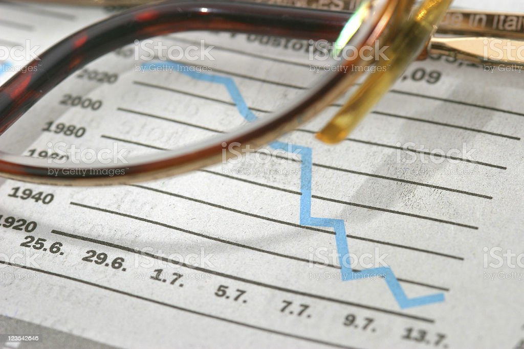Glasses on financial newspaper royalty-free stock photo