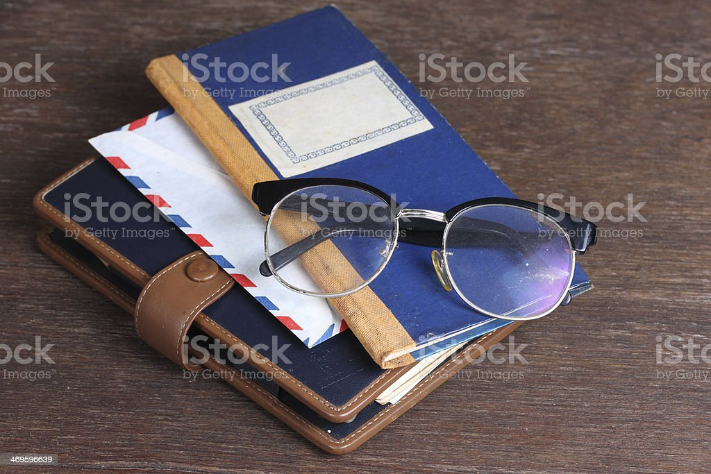 Glasses on old book royalty-free stock photo