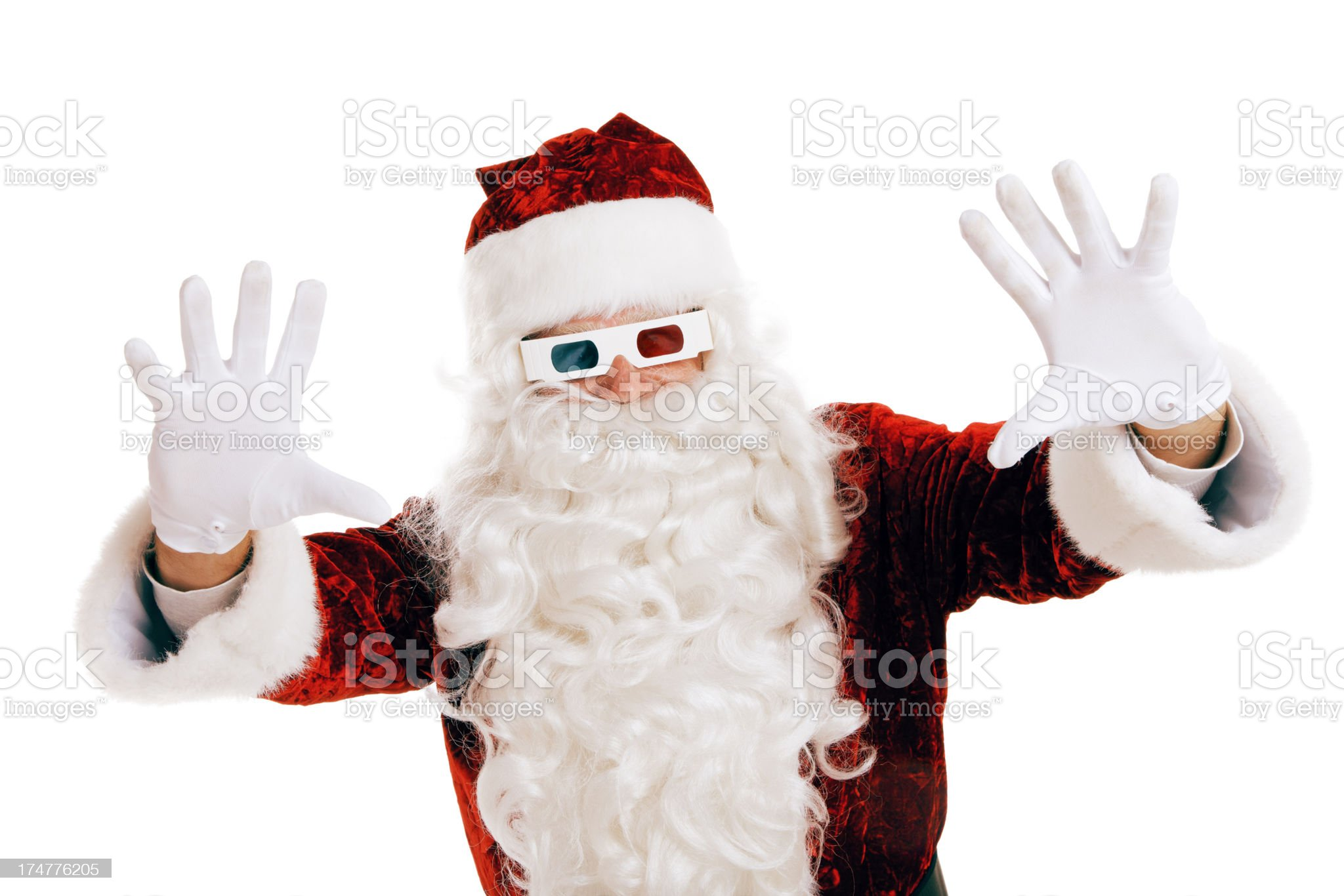 3-D Glasses on Santa Claus royalty-free stock photo