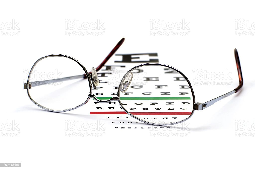 glasses on snellen eye sight chart test stock photo