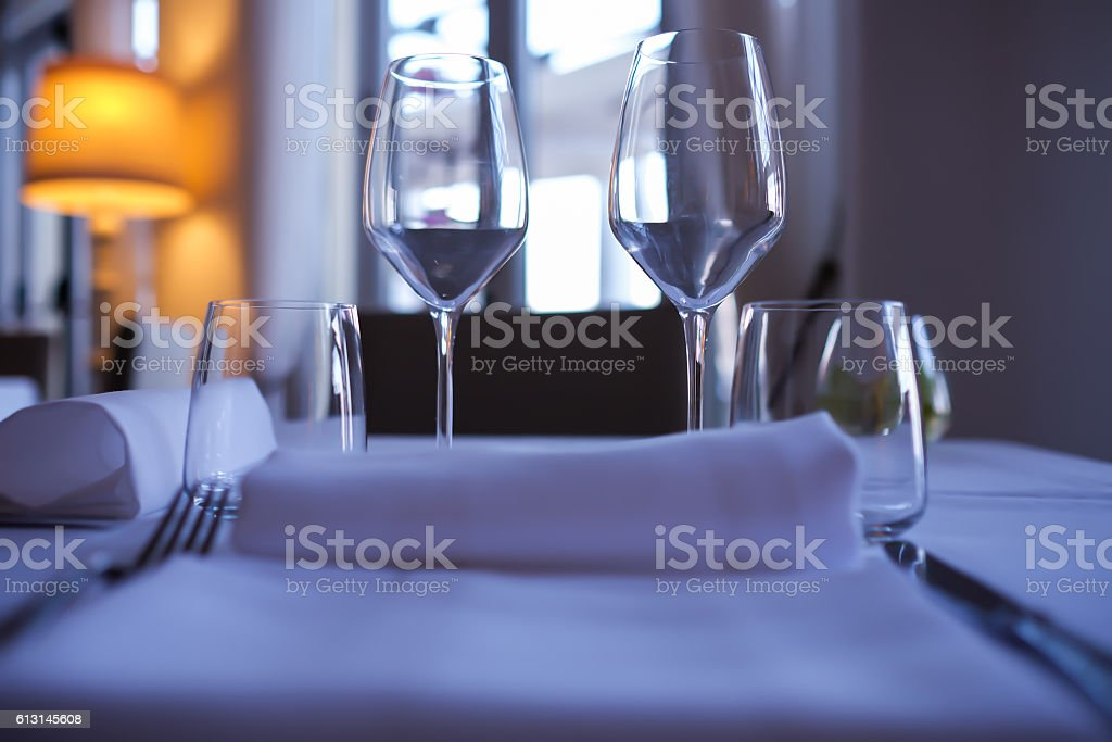 glasses on the table stock photo