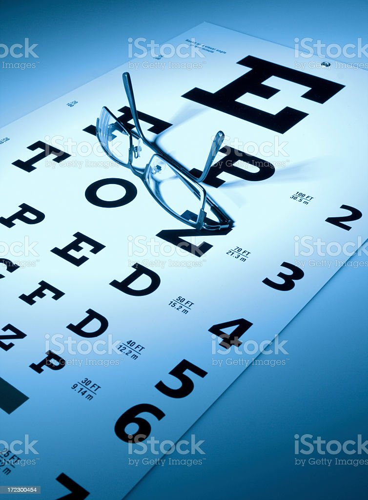 A glasses on top of the eye chart royalty-free stock photo