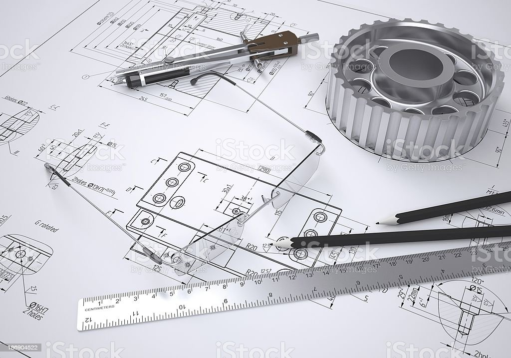 Glasses, ruler, compass, pencils and metal gear stock photo