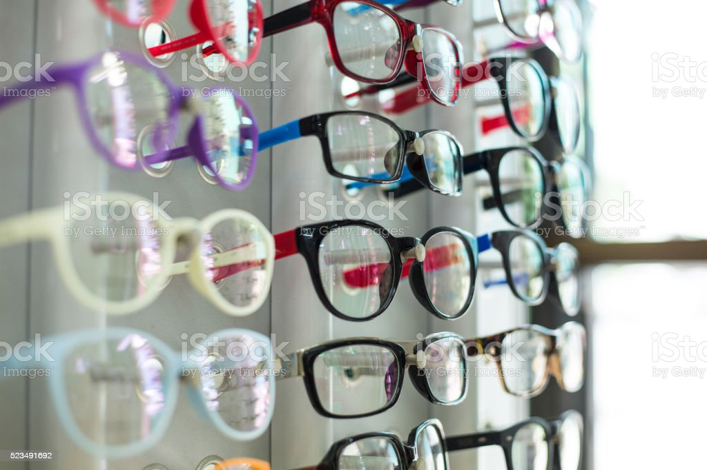 Glasses shop hang show colorful stock photo