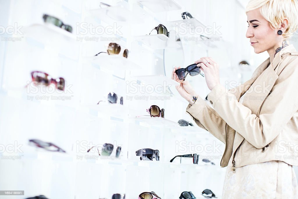 Glasses Shopping Young Woman stock photo