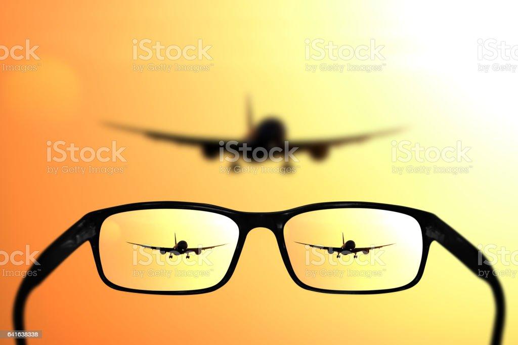 Glasses, vision concept, plane stock photo