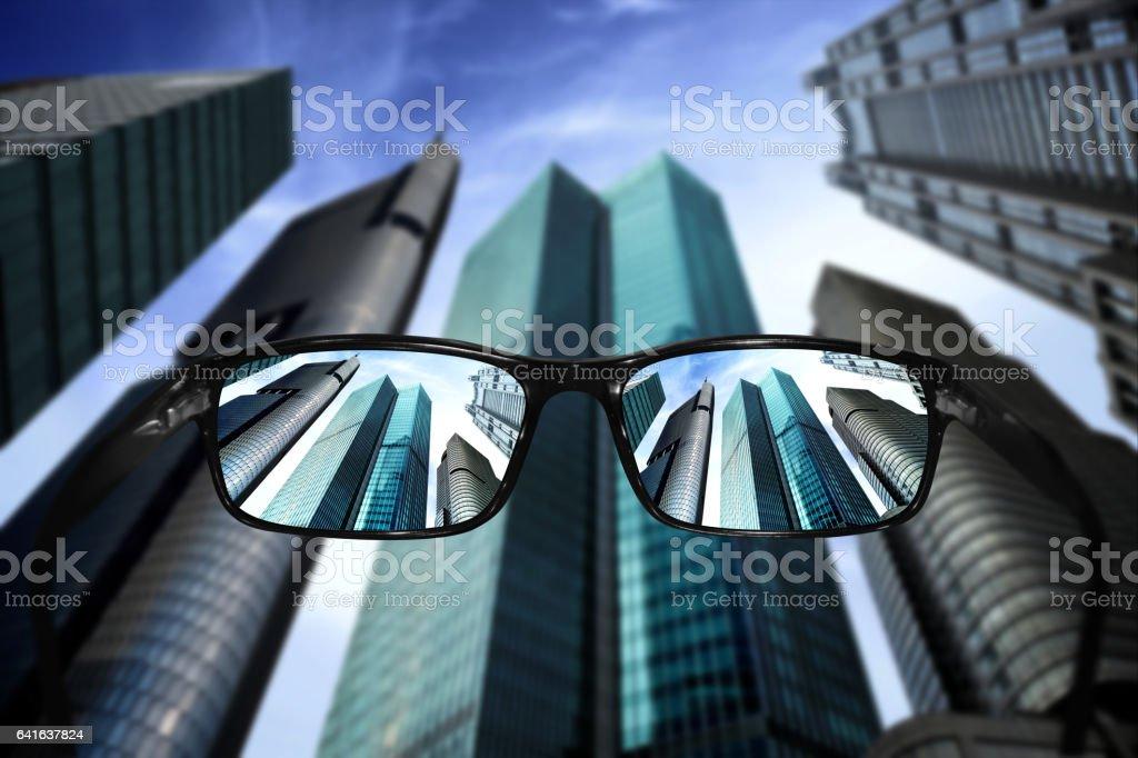 Glasses, vision concept, skyscrapers stock photo