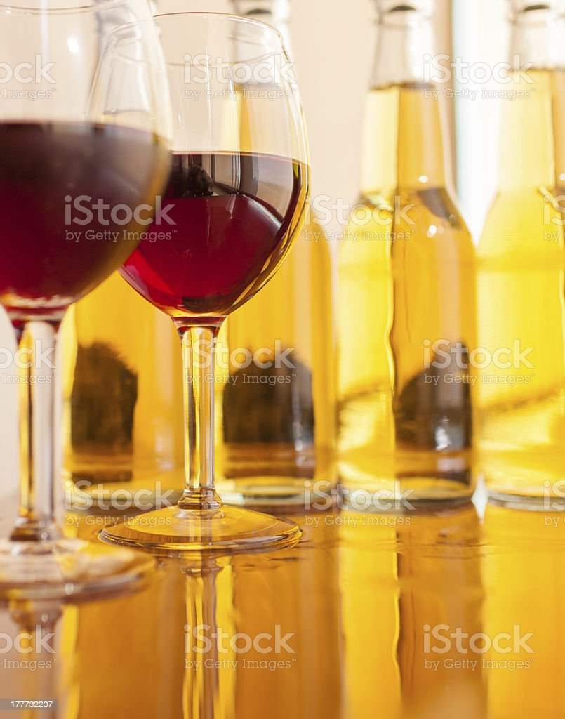 Glasses Wine and lager on a bar stock photo