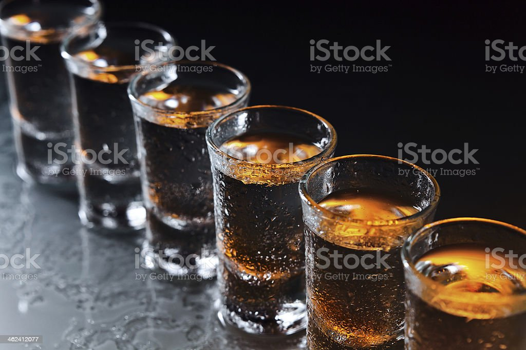Glasses with an alcoholic drink stock photo