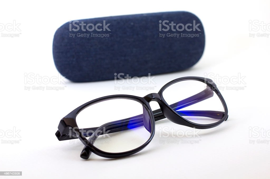glasses with blue jeans stock photo