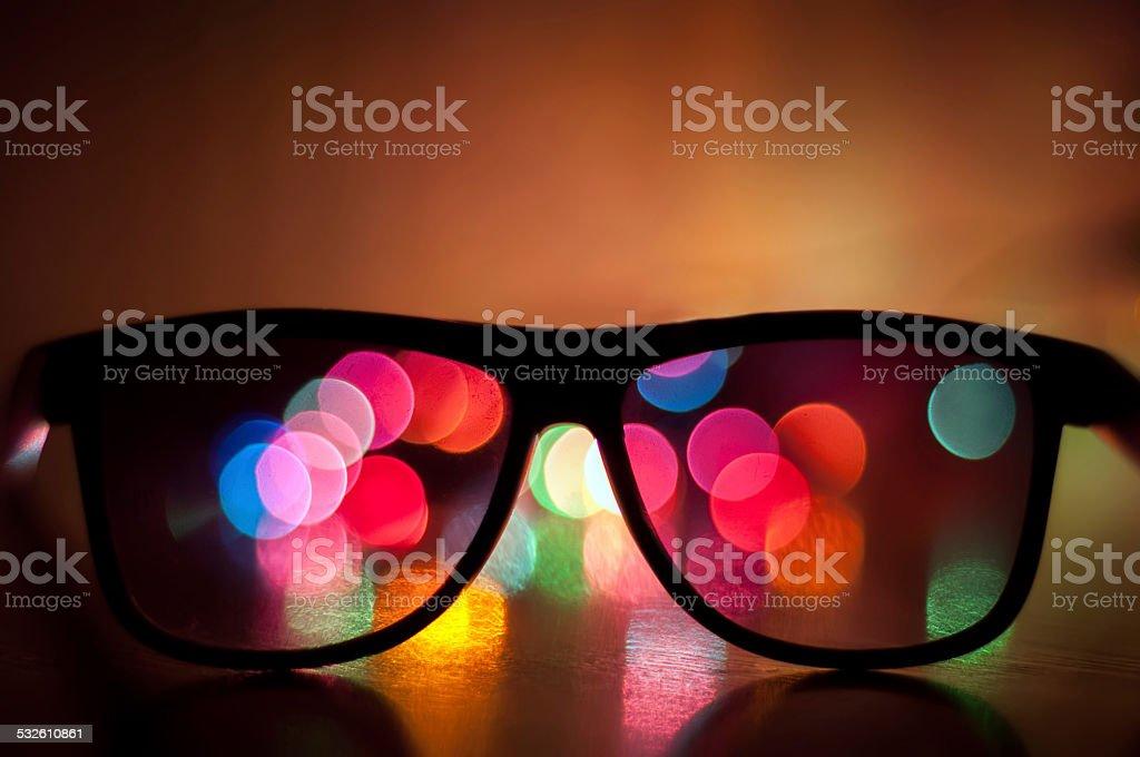 3 D gafas con bokeh foto de stock libre de derechos