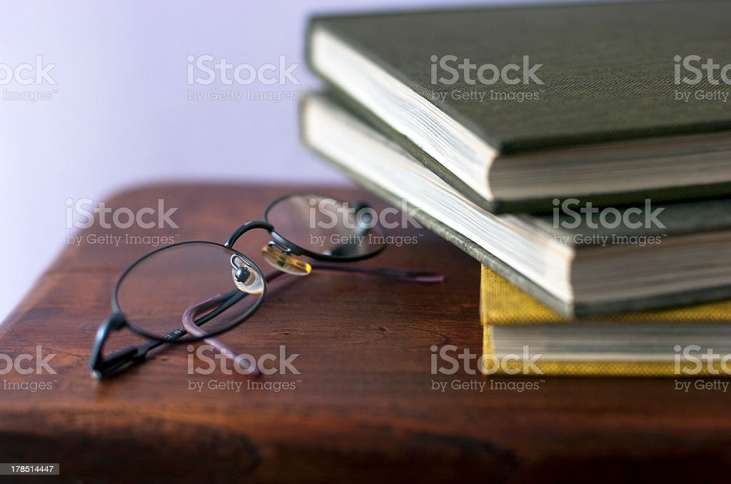 Glasses with books royalty-free stock photo