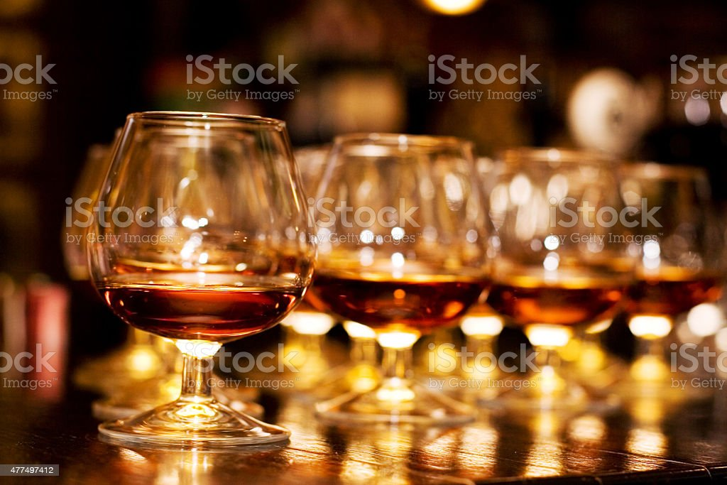 Glasses with cognac stock photo