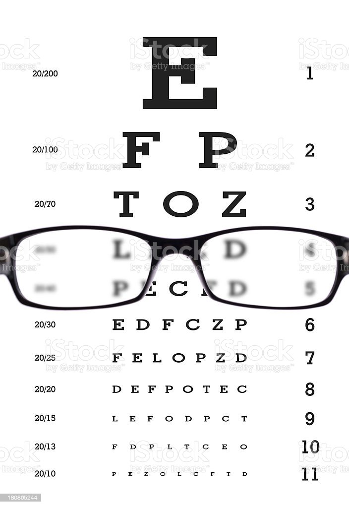 glasses with eye chart (clipping path) royalty-free stock photo