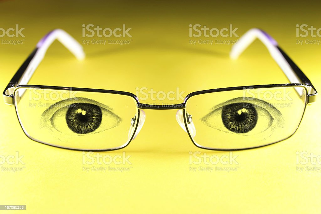 Glasses with eyes painted royalty-free stock photo
