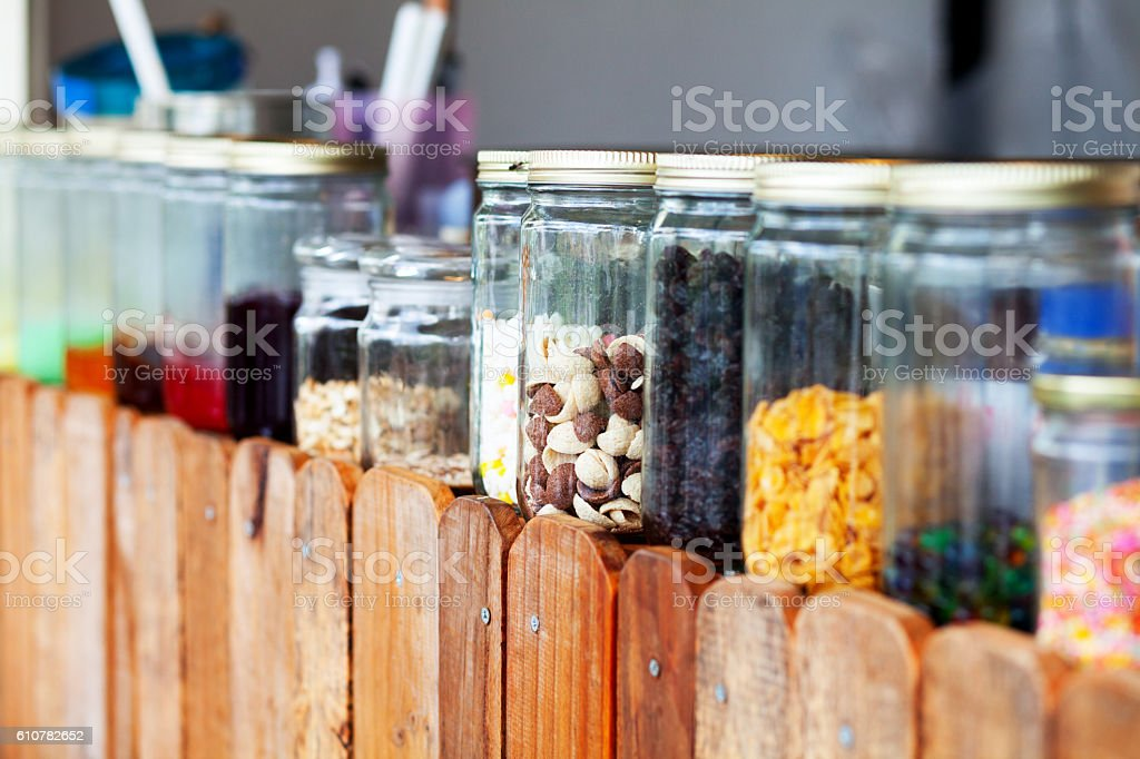 Glasses with toppings for thai sweet stock photo