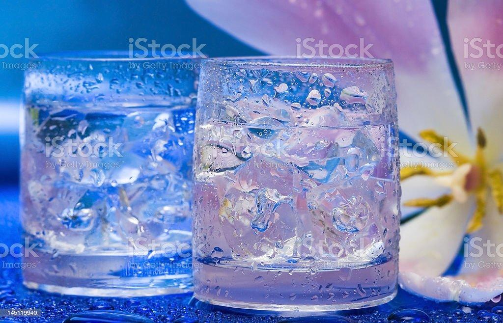Óculos com água e Flor sobre azul foto de stock royalty-free