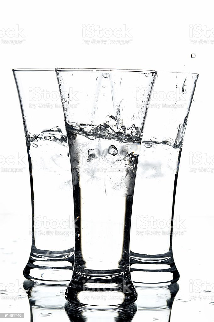 glasses with water and ice royalty-free stock photo