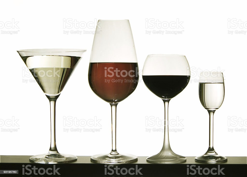 Glasses with wine on a white background royalty-free stock photo
