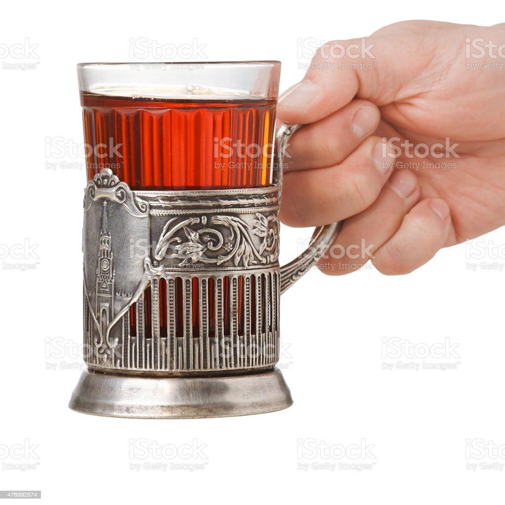 Glass-holder (podstakannik) stock photo