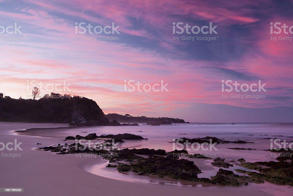Glasshouse Rocks Beach at Sunset royalty-free stock photo