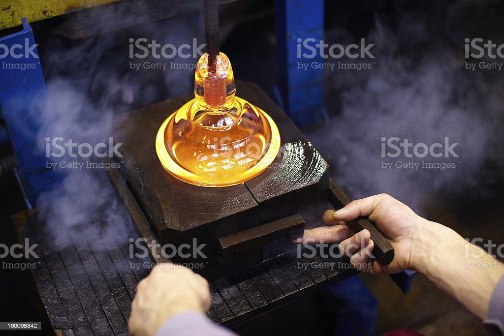 Glassmaking glass art stock photo