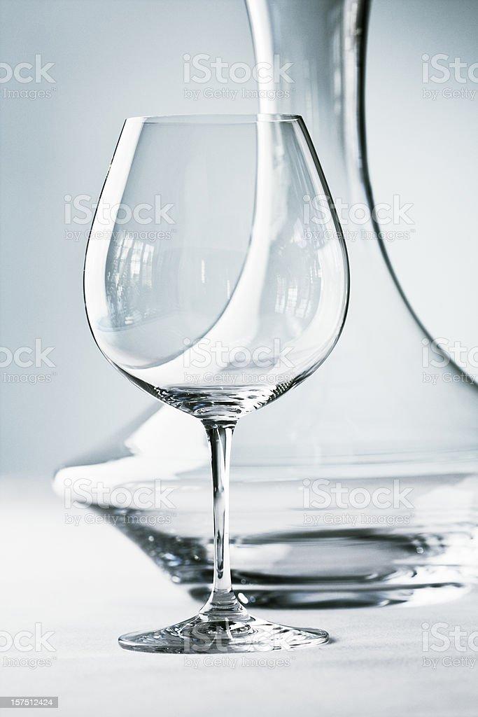 Glassware - Stemware- Wineglass and Decanter Close-up stock photo