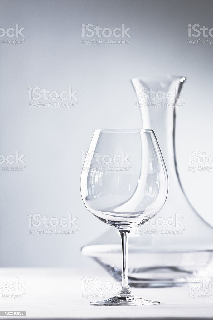 Glassware - Stemware- Wineglass and Decanter on White royalty-free stock photo