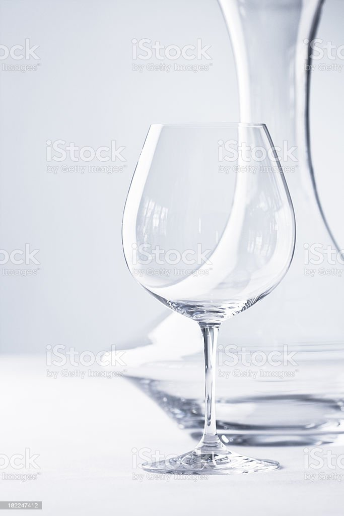 Glassware - Stemware- Wineglass and Decanter royalty-free stock photo