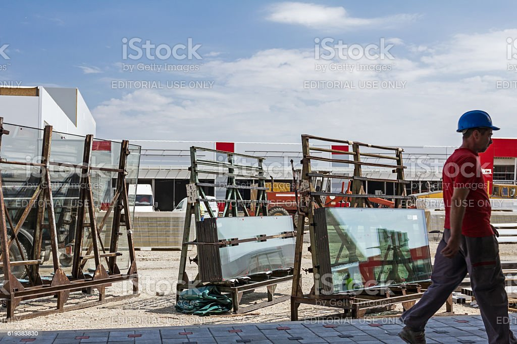 Glasswork at building site. stock photo