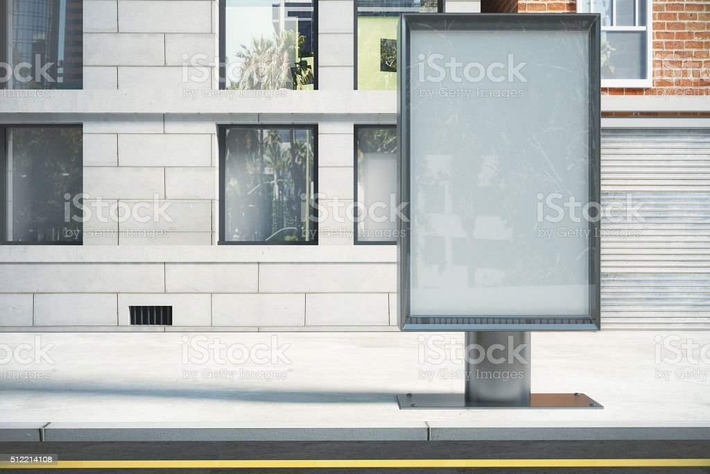 Glassy billboard on city street stock photo