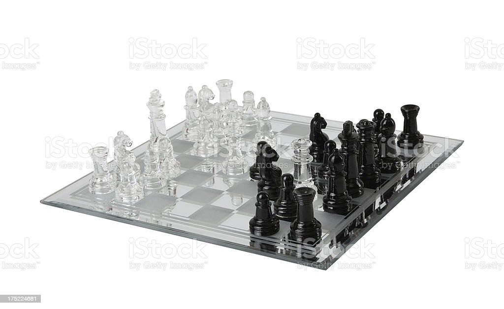 Glassy Chess Set+Clipping Path royalty-free stock photo