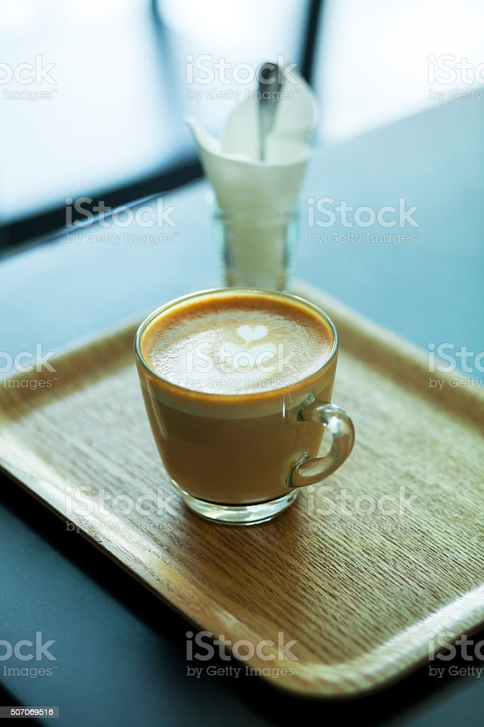 Glassy cup of coffee stock photo
