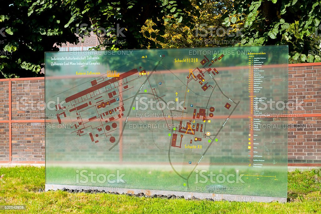 Glassy Map Of Grounds Zeche Zollverein Stock Photo IStock - Zollverein germany map