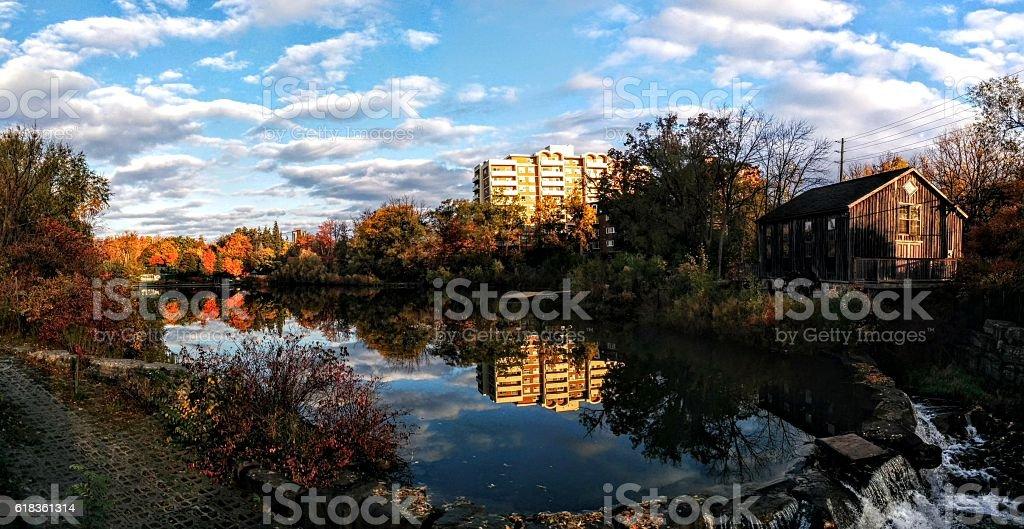 Glassy Reflection on a Lake stock photo