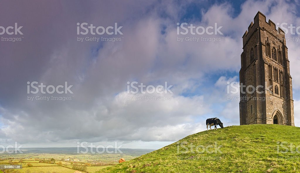 Glastonbury and Somerset Levels, UK stock photo