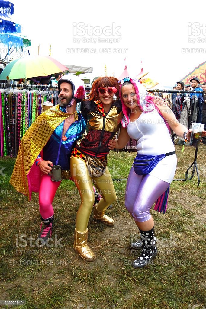 Glastonbury Festival music festival fun costumes stock photo