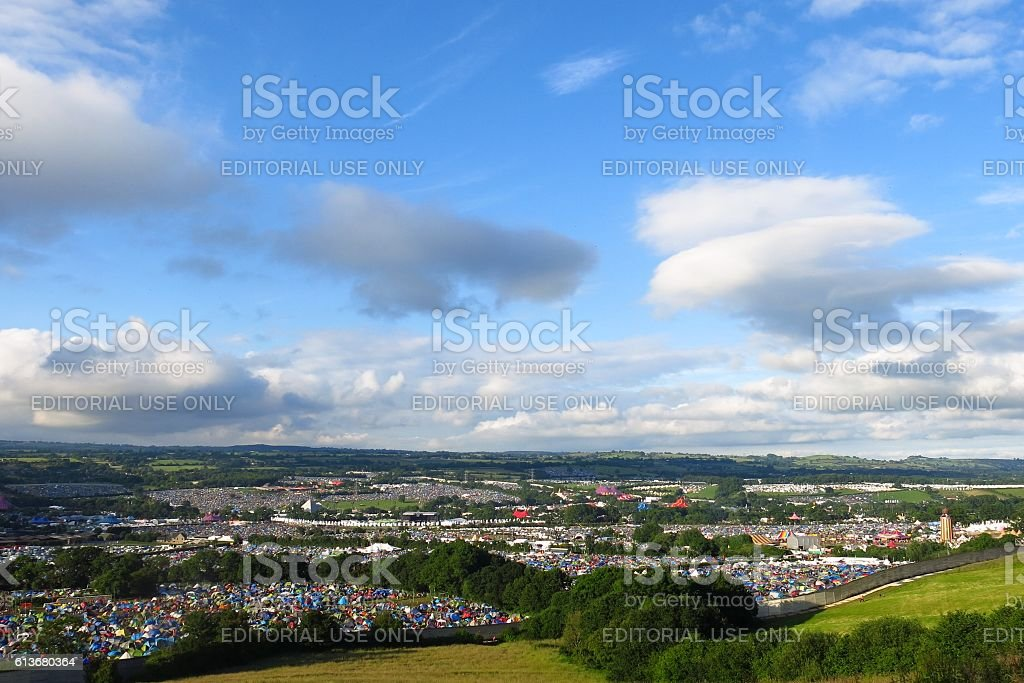 Glastonbury Festival panoramic sunny view from hillside blue sky stock photo