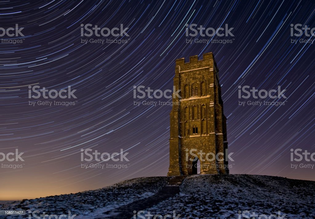 Glastonbury Tor Startrail stock photo