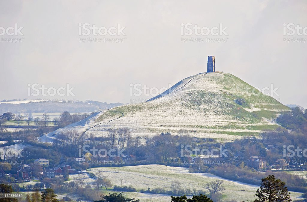 Glastonbury Tor after a snowfall, England stock photo