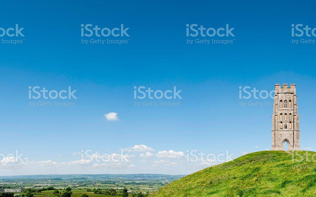 Glastonbury Tor and Isle of Avalon, Somerset, UK stock photo